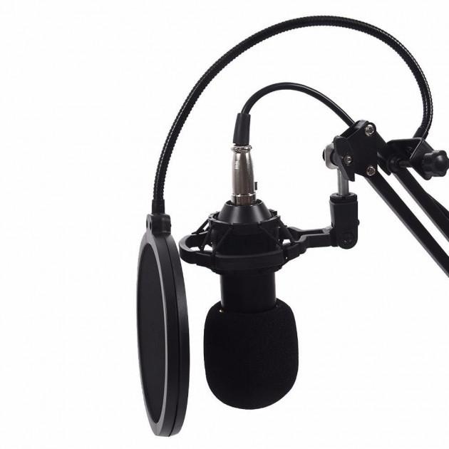 Микрофон студийный Music D.J. M800 со стойкой и ветрозащитой Black