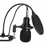 Микрофон студийный Music D.J. M800 со стойкой и ветрозащитой Black, фото 2