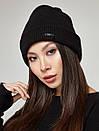 Женский джемпер с шапкой и митенками черный SOLH MKSH2387-193, фото 5