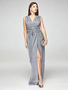 Платье вечернее с открытой спиной серое, код 2379