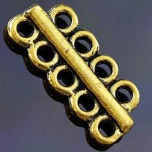 Разделитель для Бусин Прямоугольный, Металл, на 5/4 отверстия, Цвет: Античное Золото, Размер: 18х8мм, Отверстие 1мм, (УТ000006344)