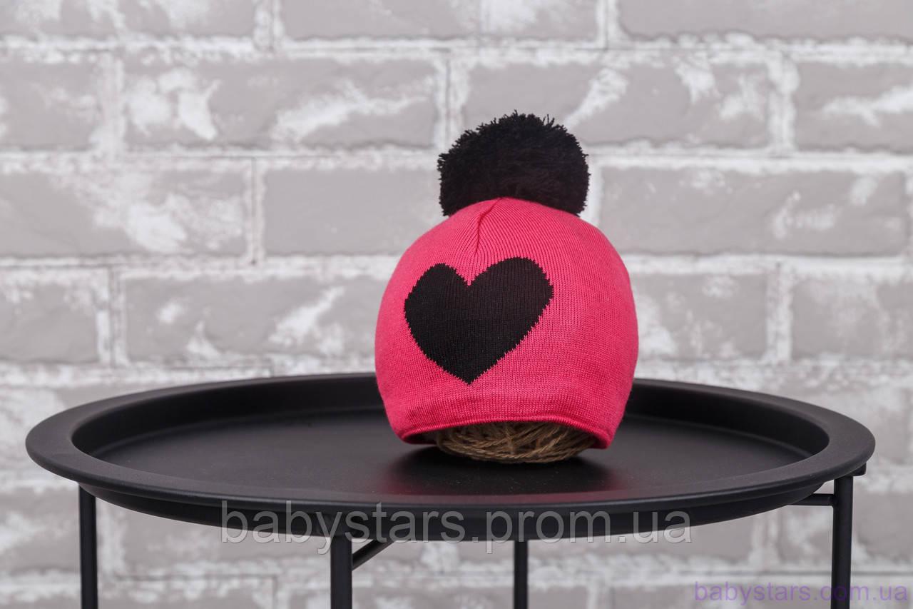 """Детская зимняя шапка """"Heart"""", малиново-черная"""