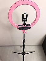 Профессиональная кольцевая светодиодная LED лампа 35 см Розовая RL-12