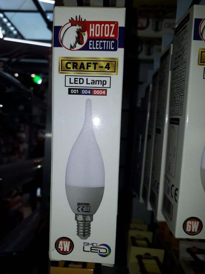Светодиодная Лампа 4W Е14 Свеча на ветру 3000K Horoz Craft-4
