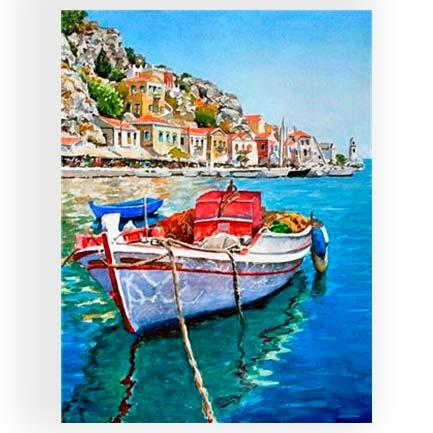 Картина раскраска по номерам на дереве 40*50см Josef Otten RA3442 Лодка