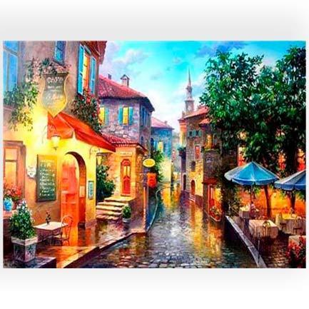 Картина раскраска по номерам на дереве 40*50см Josef Otten RA3326 Старинный городок
