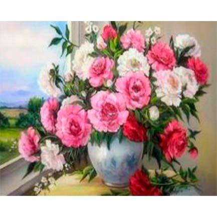 Картина раскраска по номерам на дереве 40*50см Josef Otten RSB8186 Букет на окне