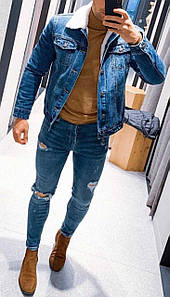 """Куртка чоловіча джинсовий на хутрі """"Meters/Bonwe"""" (демисезон/еврозима)"""