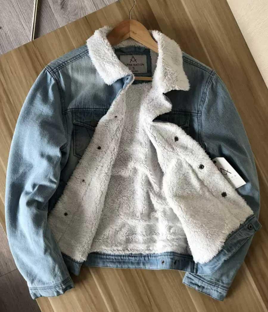 """Куртка зимова чоловіча джинсовий на хутрі """"Alpha Nation"""""""
