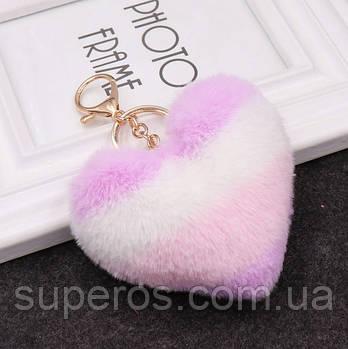 Меховый брелок Полосатое сердце разные цвета