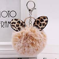 Меховый брелок на сумку, рюкзак, для ключей Помпон с ушками
