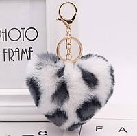 Меховый брелок на сумку, рюкзак, ключи Леопардовое сердце разные цвета