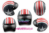 Шлем открытый   (с козырьком, size:L, бело-синий)   STAR, шт