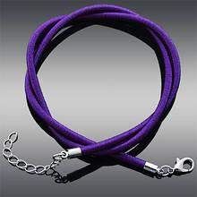Основа для Ожерелья из Шелка, Застежка Карабин из Латуни,с цепочкой, Регулируемый, Цвет: Фиолетовый, Размер: 43~45смх3мм, (УТ0002946)