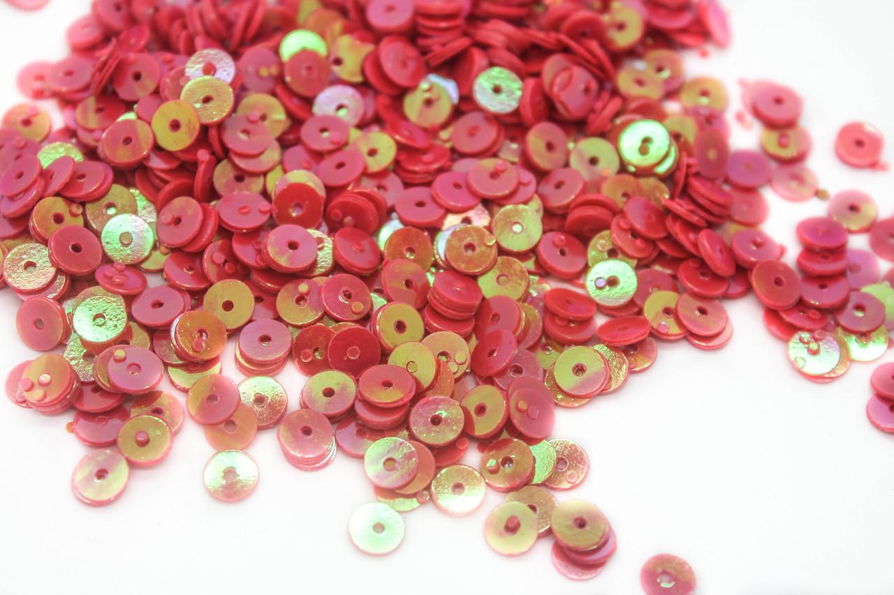 Пайетки круглые Хамелеон. Диаметр 5 мм. Цвет Розовый. В упаковке 25г.