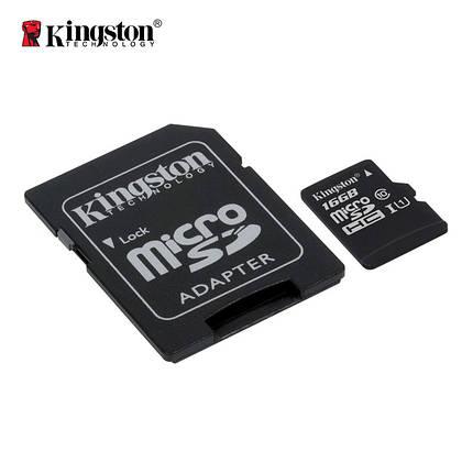 Карта памяти Kingston Canvas microSDHC + SD adapter SDCS/16GB (16GB, Class10, UHS-I, 80MB/s), фото 2