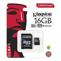 Карта памяти Kingston Canvas microSDHC + SD adapter SDCS/16GB (16GB, Class10, UHS-I, 80MB/s), фото 3