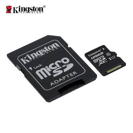 Карта памяти Kingston Canvas microSDXC + SD adapter SDCS/128GB (128GB, Class10, UHS-I, 80MB/s), фото 2