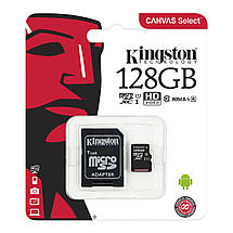 Карта памяти Kingston Canvas microSDXC + SD adapter SDCS/128GB (128GB, Class10, UHS-I, 80MB/s), фото 3