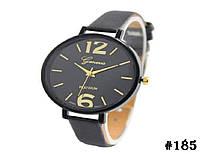 Женские кварцевые наручные часы / годинник Geneva Platinum чёрного цвета (185)