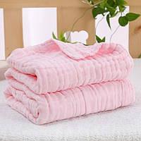 Плед муслиновый розовый 6 слоев 90х100 см