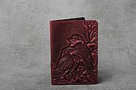 """Обложка для паспорта, обложка из натуральной кожи с тиснением """"Птички"""", фото 1"""