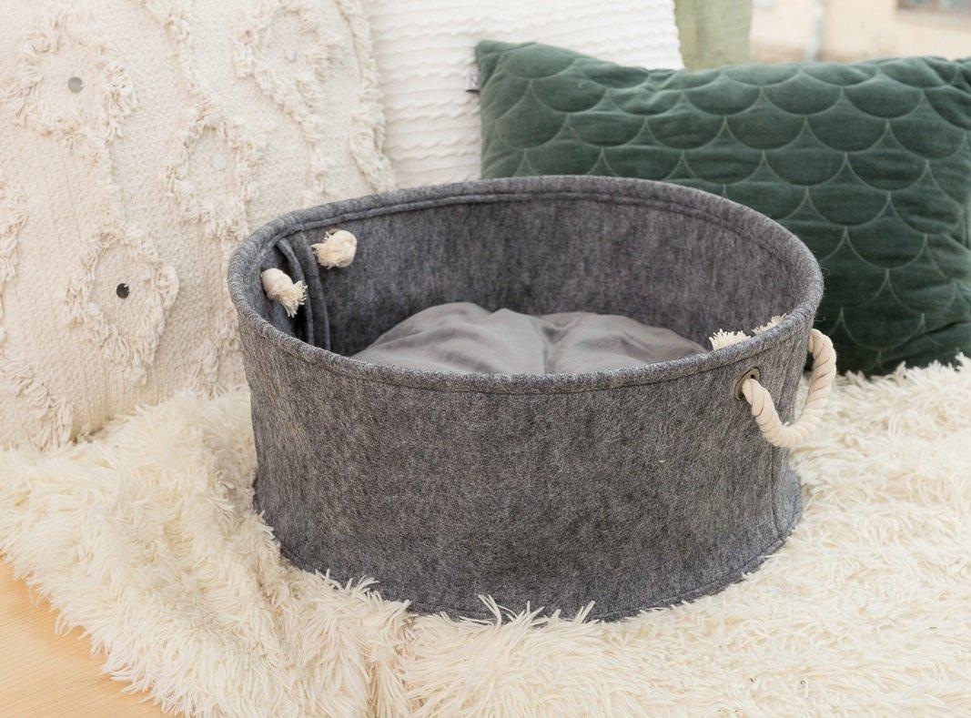 Корзина-лежак для животных Digitalwool с подушкой Серый