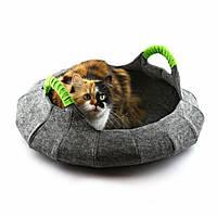Корзина-лежак для животных Digitalwool Деко с подушкой Серый, фото 1