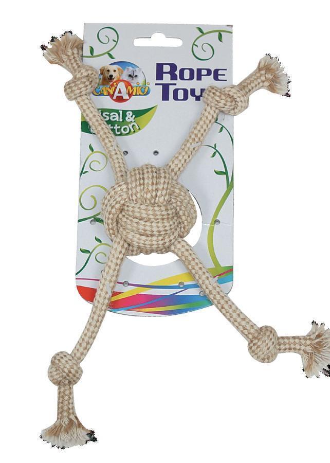 Игрушка для собак CROCI ECO канат грейфер мяч с веревками, котон+сезаль, 7,5х32см