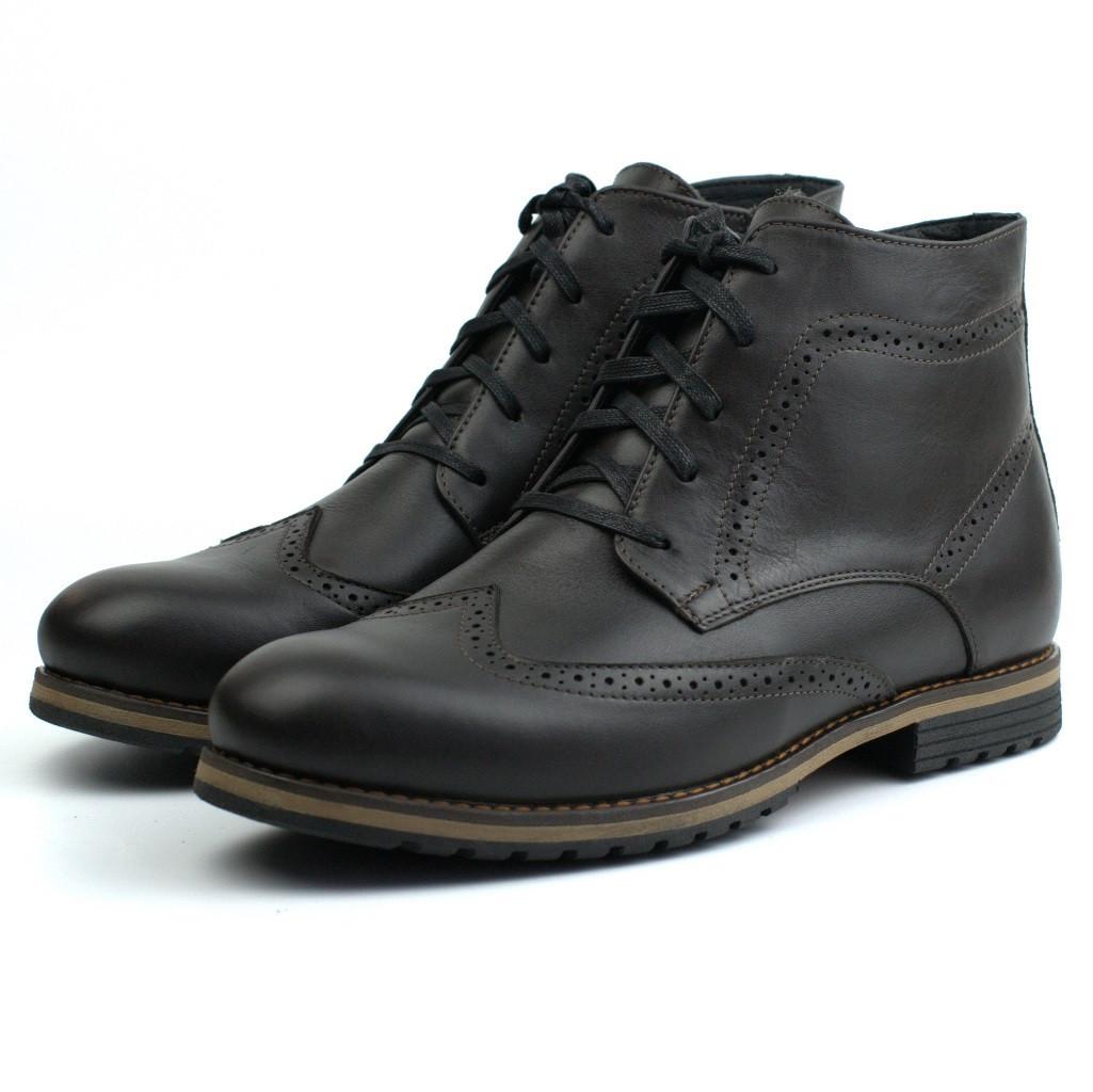 Обувь больших размеров ботинки зимние коричневые броги кожаные Rosso Avangard Winter Brogues Rown Leather BS