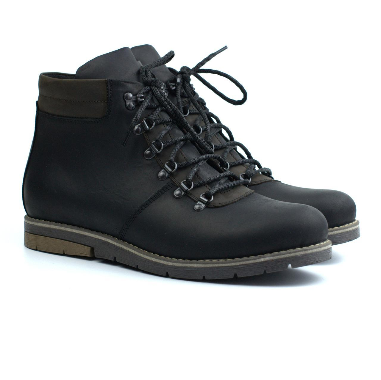 Мужская обувь больших размеров зимние ботинки хайкеры кожаные мех Rosso Avangard Rangers Street Crazy Black BS