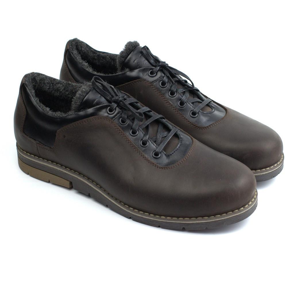 Обувь больших размеров зимние туфли на меху коричневые мужские кожаные Rosso Avangard Ragn Street Brown BS