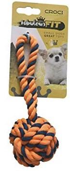 Игрушка для мелких собак CROCI плетеный мяч из каната, оранжевый, 16см