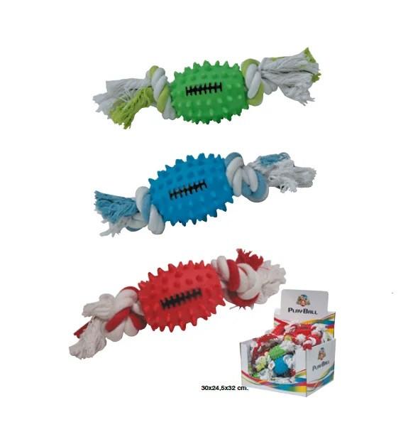 Игрушка для собак CaniAMici шипами мяч с канатом, резина, 25см
