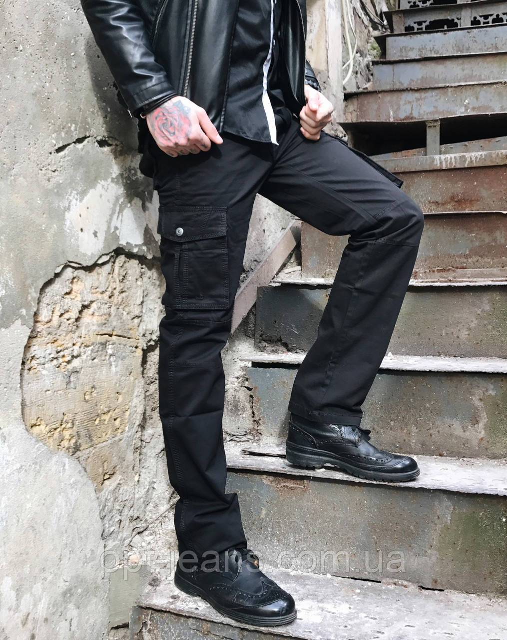 8813-1 D черные ITENO брюки-карманы мужские полубатальные демисезонные не тянутся (33-42, 6 ед.)