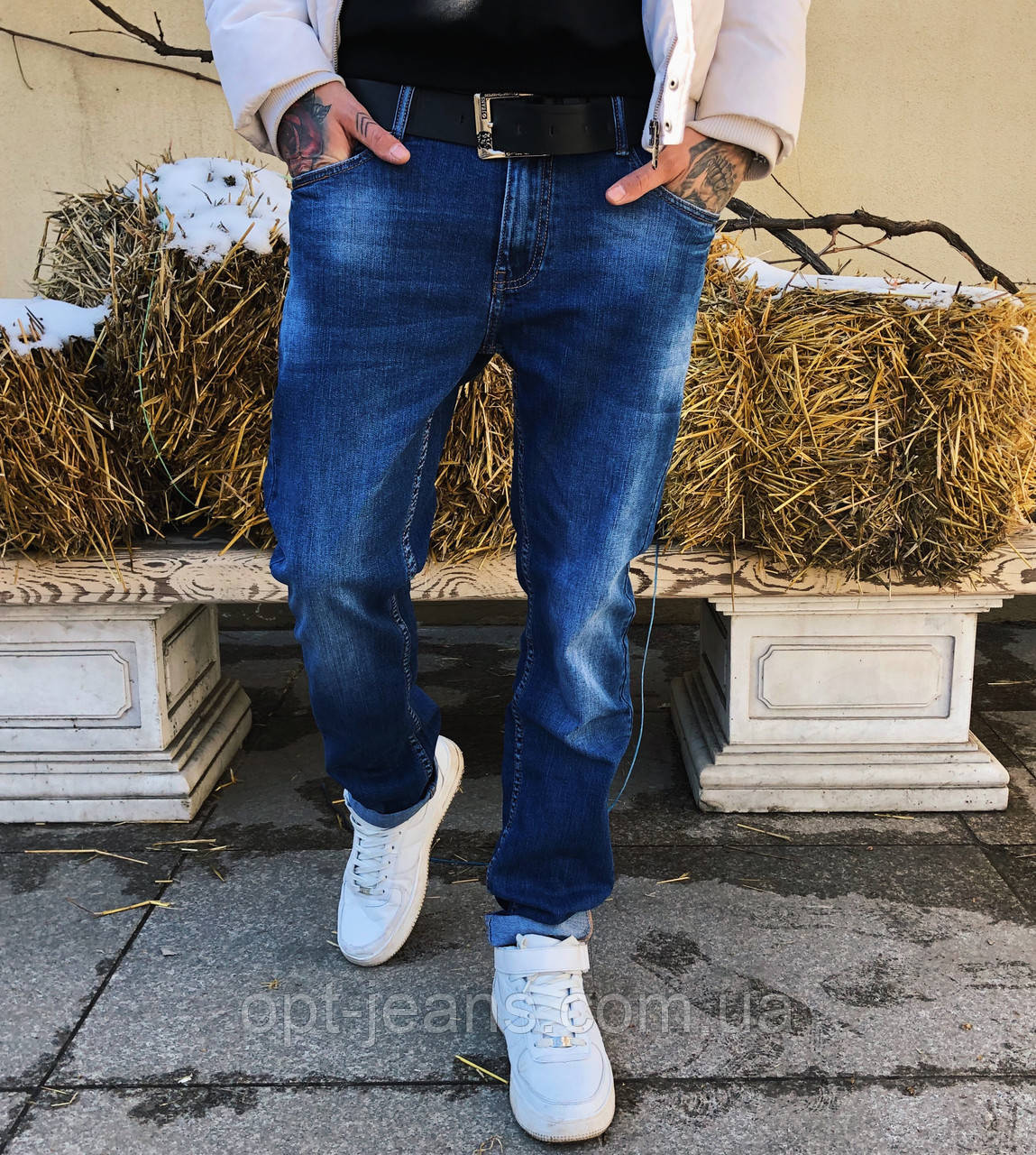 8044 Resalsa джинсы мужские с теркой весенние стрейчевые (30-2,31, 3 ед.)