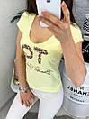 0122 желтая MMC футболка женская с принтом стрейчевая (S-XL, 4 ед.), фото 4