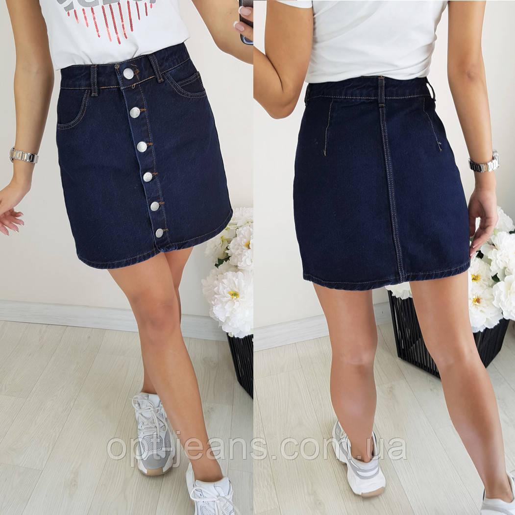 44458 Defile юбка джинсовая синяя на кнопках осенняя котоновая (34-40, евро, 6 ед.)