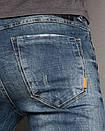 0004 Top Star джинсы мужские молодежные с царапками осенние стрейчевые (27-34, 8 ед.), фото 3