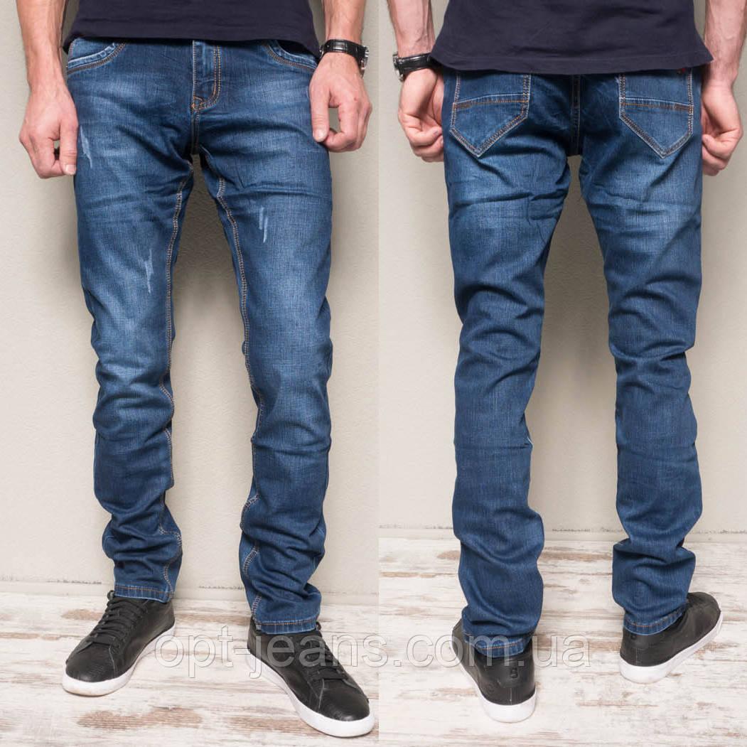 8381-8 Vingvgs джинсы мужские молодежные синие с царапками осенние стрейчевые (27-34, 8 ед.)
