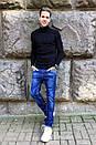 8381-8 Vingvgs джинсы мужские молодежные синие с царапками осенние стрейчевые (27-34, 8 ед.), фото 2