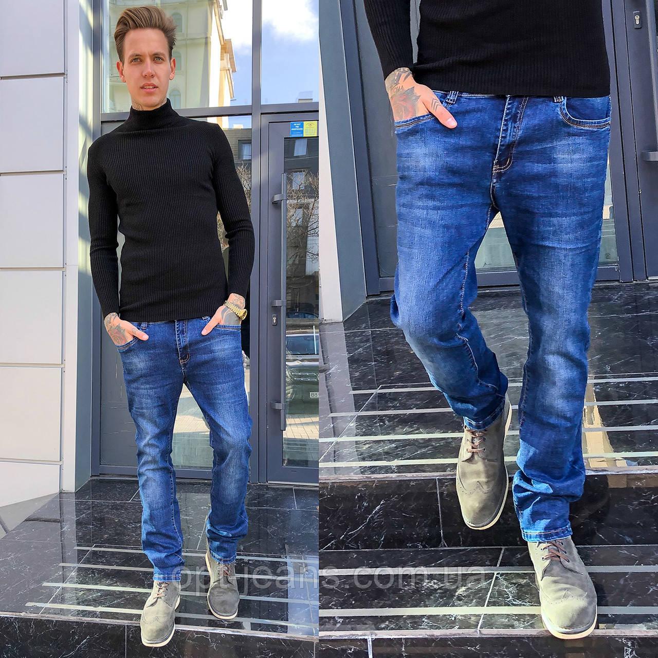 6024 Hopeai джинсы мужские синие с теркой осенние стрейчевые (29-38, 8 ед.)