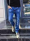 6024 Hopeai джинсы мужские синие с теркой осенние стрейчевые (29-38, 8 ед.), фото 3