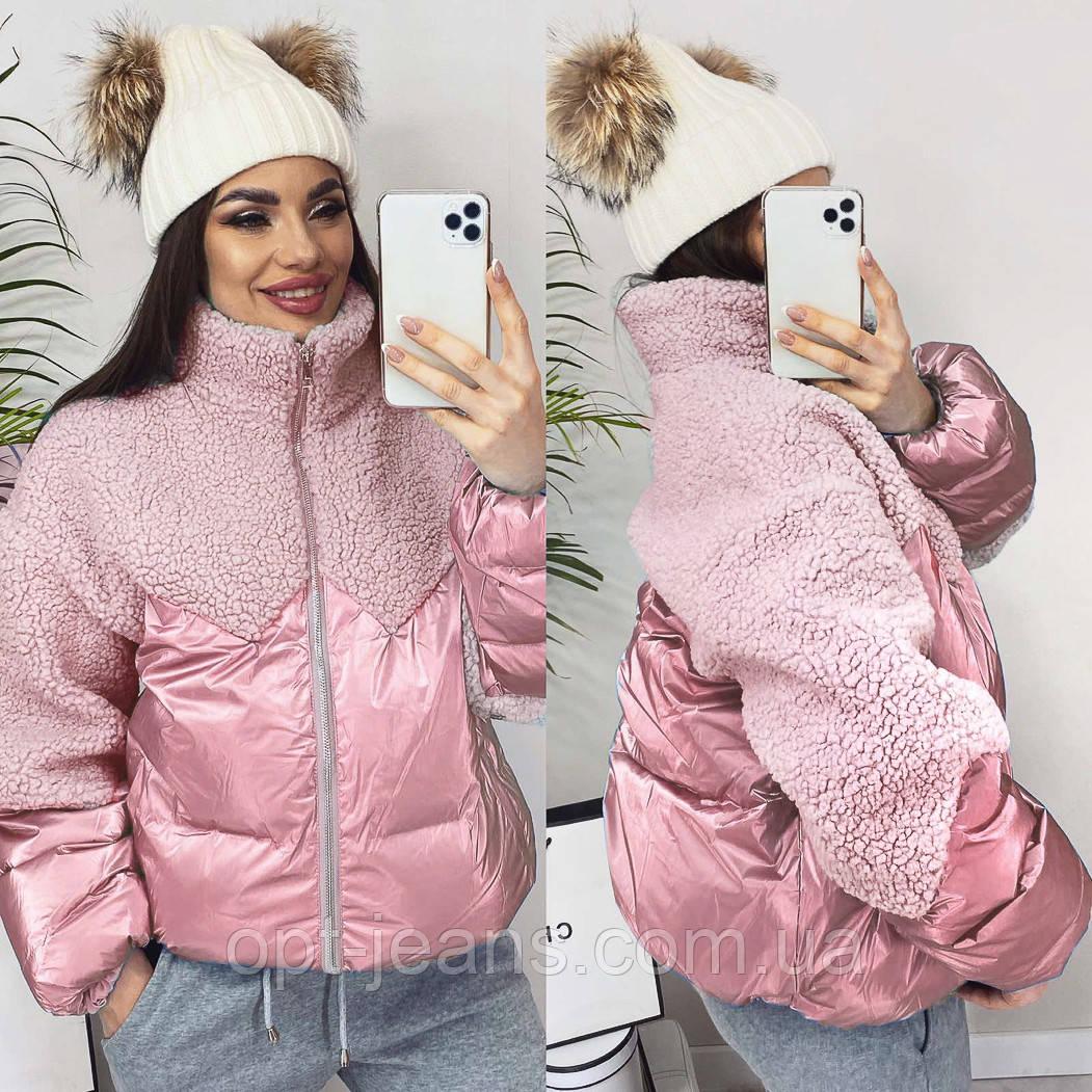 5901 розовая ManQi куртка женская зимняя (M-XL, 3 ед.)
