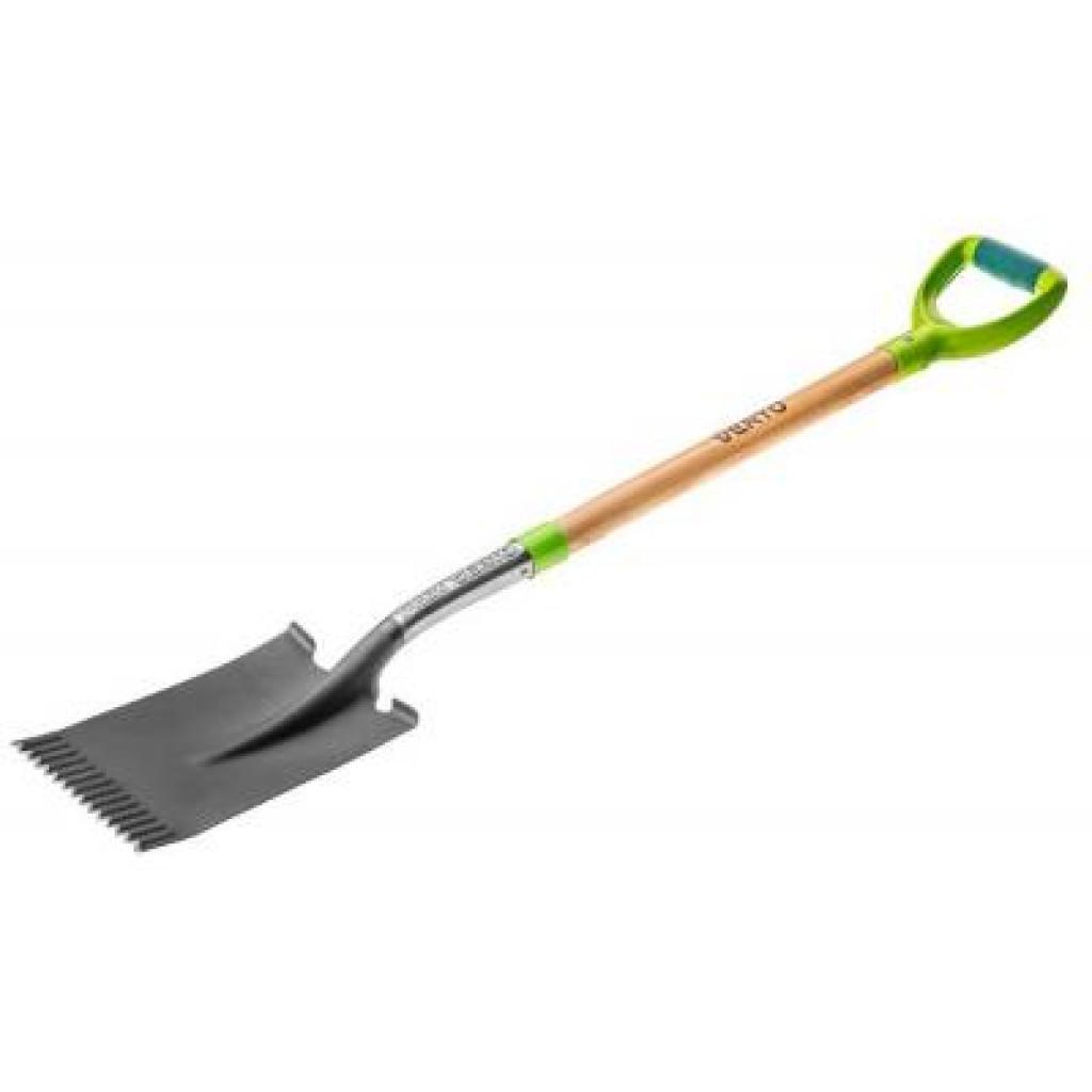 Лопата Verto прямая, деревянная ручка (15G002)