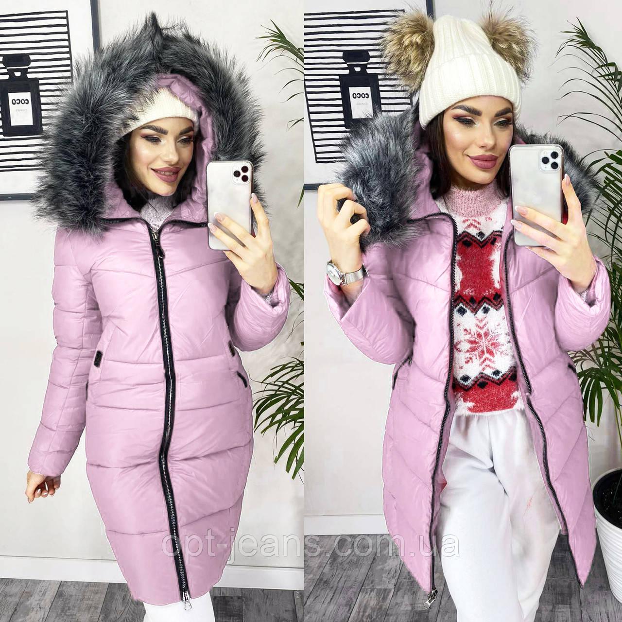 7818 розовая X куртка женская зимняя (S-XL, 4 ед.)