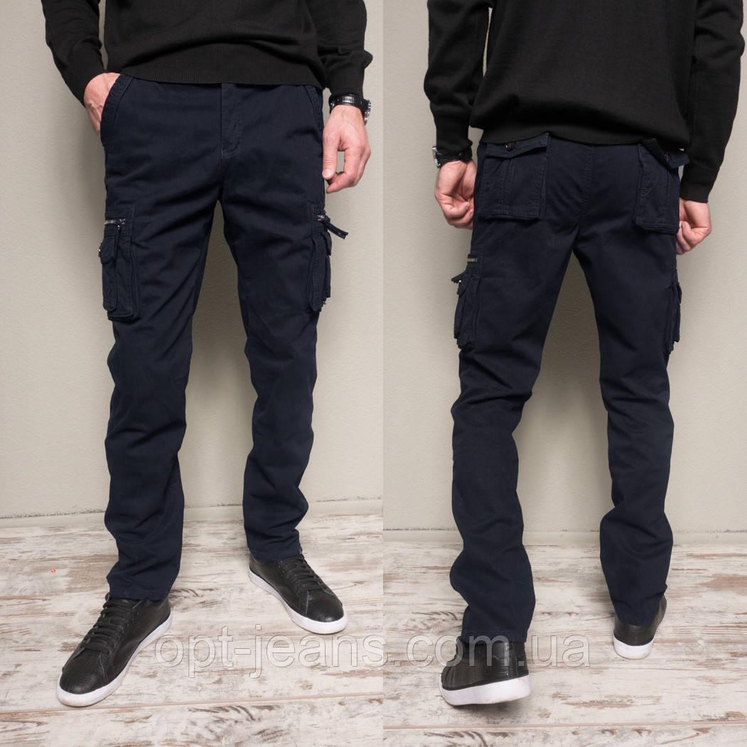 1862-dark blue Forex брюки мужские карго на флисе зимние стрейч-котон (30-40, 10 ед.)