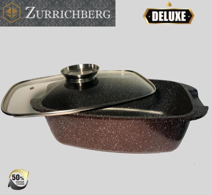 Гусятница с крышкой Zurrichberg Deluxe ZBP-7102, мраморное покрытие, разм. 32см.
