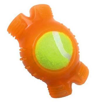 Игрушка для собак CROCI Взрывной теннисный мяч, резина/силикон, 12.4х8.3х6.4см