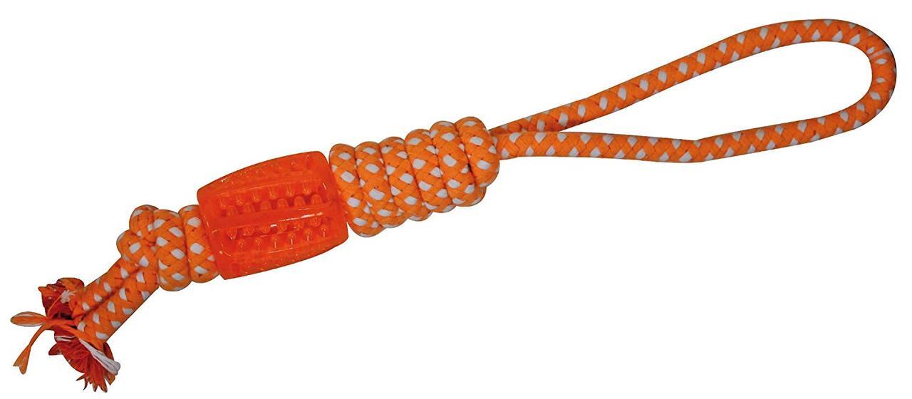 Игрушка для собак CROCI Взрывной цилиндр на узловой веревке, оранжевый, 41 см